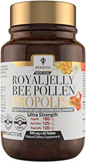 BEE and You Royal Jelly + Propolis + Bee Pollen Tablets – High Potency - No Artificial Flavor - No Preservatives - No Adde...