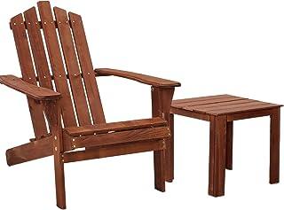 Gardeon Patio Outdoor Furniture Beach Chair Wooden Chairs Table Adirondack Indoor Garden-Brown