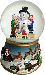 Lightahead Musical Christmas Snowman Polyresin Snow Globe Water Ball LED Light,Flying Snow with 8 melodies