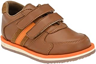 Hopscotch Tuskey Shoes Boys Genuine Leather Lining Leather Double Strap Jogger Shoe in Tan Color