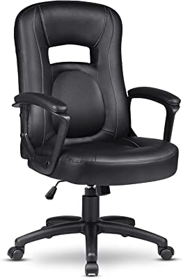 ComHoma Computer Chair, Ergonomic Office Chair, Swivel High Back Mid Back Computer Chair, Height Adjustable Computer Chair with Thick Padded Armrests (Mid Back Black)