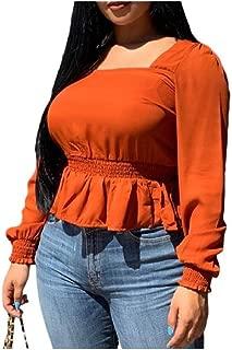 neveraway Women's Long-Sleeve Elegant Peplum Solid Color Blouse
