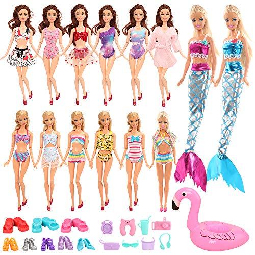 Miunana 25 Meerjungfrau Kleidung Kleider für Puppen = 4 Badeanzug + 1 Bademantel + 2 Meerjungfrau Kleider + 1 Rettungsring + 1 Handtuch + 8 Schuhe + 8 Zubehör für 11,5 Inch Puppen