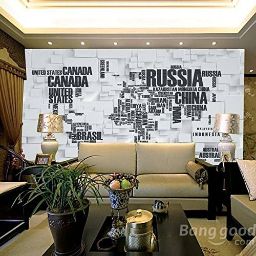 Bazaar DIY grote wereldkaart muurtattoo Engelse alfabet verwijderbare muursticker sticker