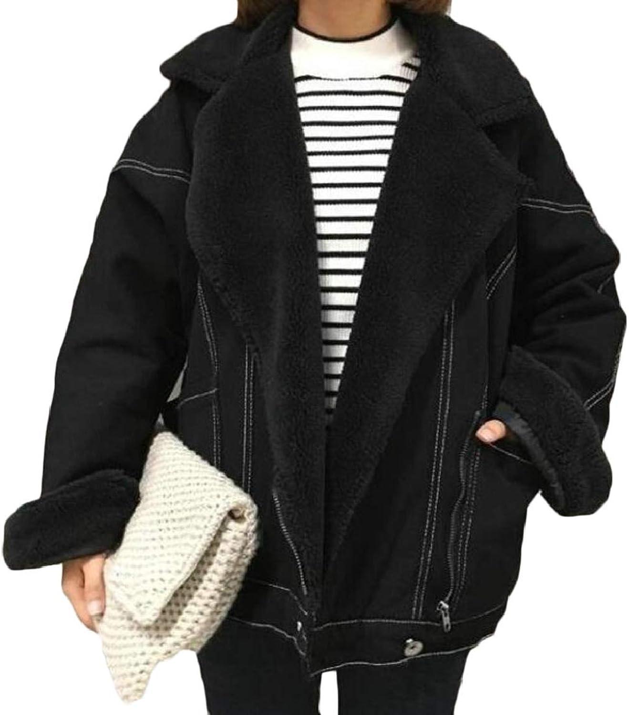 PujinggeCA Women Warm Denim Jacket Long Sleeve Sherpa Lined Jean Outwear Coats