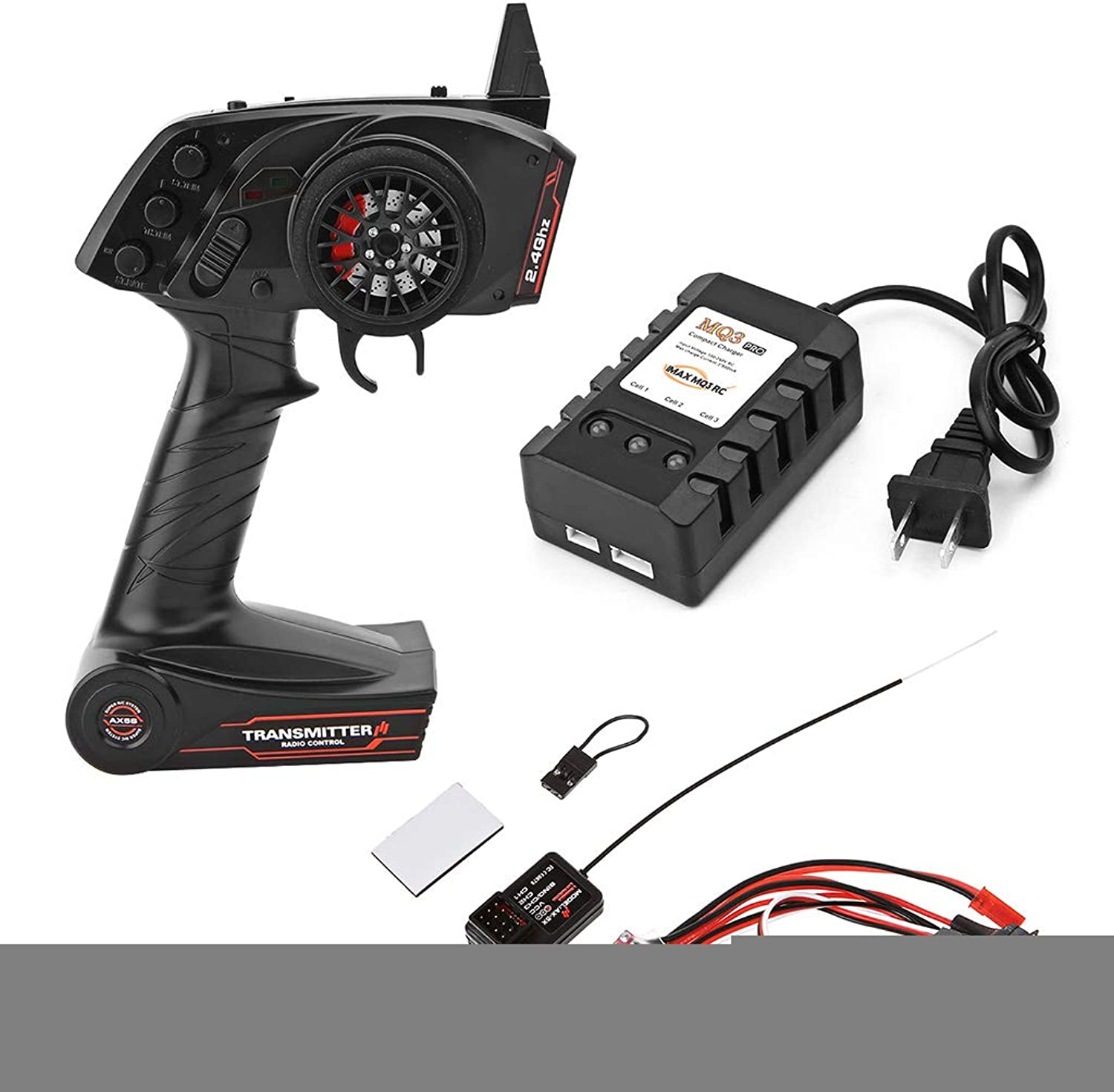 SmallJun Full Scale Remote Control + Receiver + ESC Upgrade OP Fitting Accessories for WPL RC Car Ship Model,2