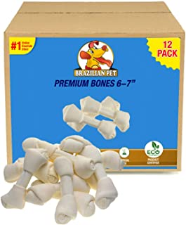Brazilian Pet 6-7 Inches Premium Dog Bones, Chewing Dog Treat Made with The Best Rawhide, 100% Natural, No Additives, Chemicals or Hormones, Natural Grass-Fed, USDA/FDA Approved