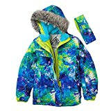 ZeroXposur Girls Green Blue Cosmic Coat Puffer Snowboard Jacket Headband 4