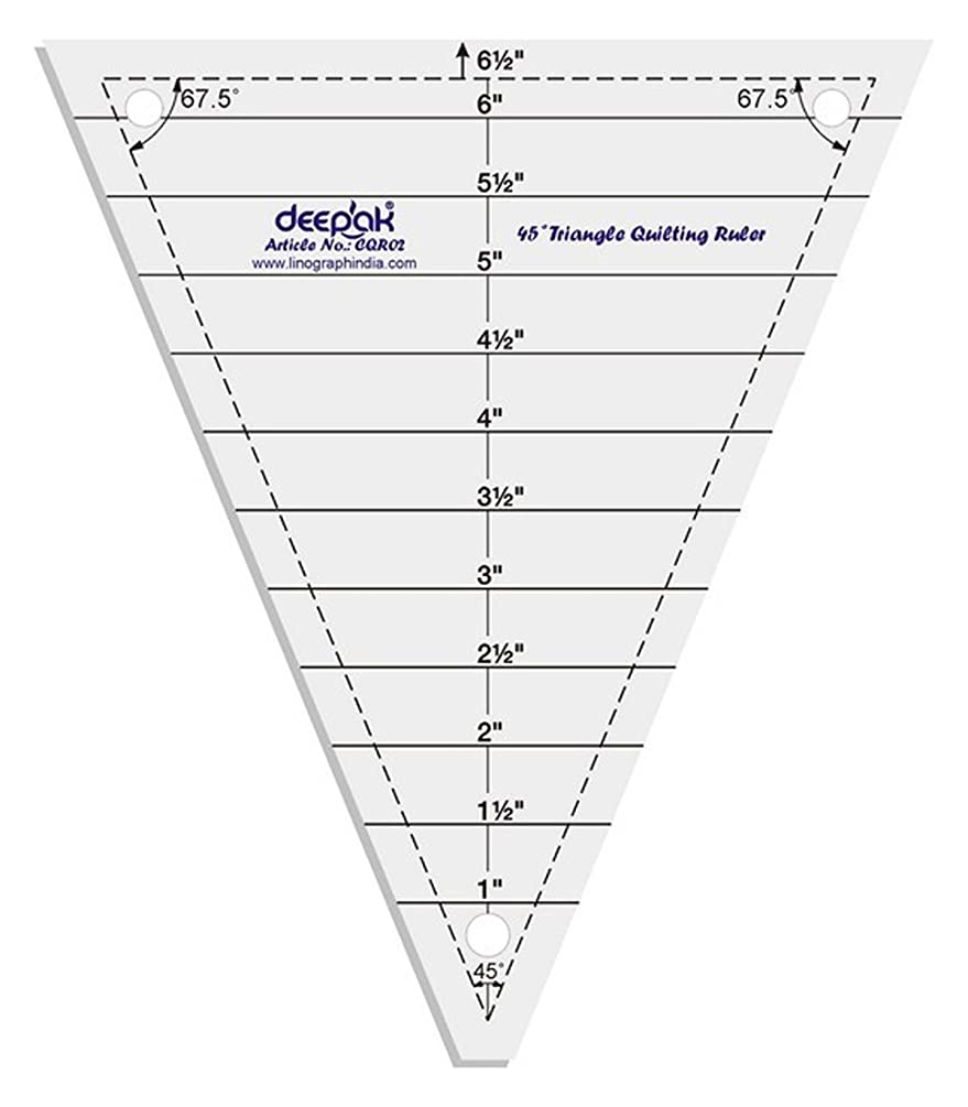 45° Triangle Shape Quilt Designing and Crafting Quilting Ruler Template 6.5 Inches