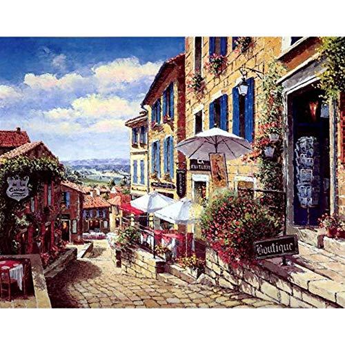 Arte de la pared de las calles de Europa, cartel de la ciudad de Francia, lienzo de estilo mediterráneo, pintura, imagen nórdica para la decoración de la pared del comedor, 80x100cmx1, sin marco
