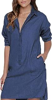 Auxo Camicia Lunga Donna Manica Lunga Shirts Casuale Elegante Camicetta Cotone Vestiti Corti Blusa Lunga Risvolto