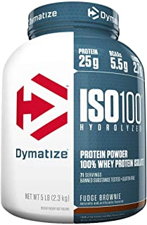 Dymatize ISO 100 Hydrolyzed Whey Protein Powder Isolate, Fudge Brownie, 5 Pound