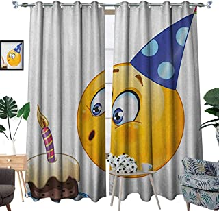 Warm Family Kids Birthday Thermal Insulating Blackout Curtain Happy Emoji Face Celebration with Cone Hat Blowing Party Cake Print Patterned Drape for Glass Door W72 x L108 Yellow and Dark Blue