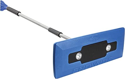Snow Joe SJBLZD-LED 4-In-1 Telescoping Snow Broom + Ice Scraper | 18-Inch Foam Head | Headlights (Blue): image