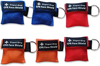 50-Pack CPR Masks Keychain Ring Emergency Kit CPR Face Shields - Mini Portable CPR Pocket Rescue Mask with One-way Valve Breathing Barrier for First Aid or AED Training