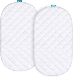 Bamboo Bassinet Mattress Pad Cover Compatible with Graco Sense2Snooze Bassinet, 2 Pack, Waterproof, Ultra Soft Sleep Surfa...