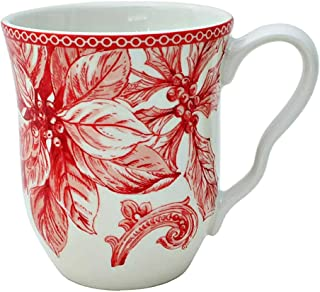 222 Fifth Christmas Lane Holiday Toile Dinnerware | Set of 4 Mugs for Coffee, Tea, Latte