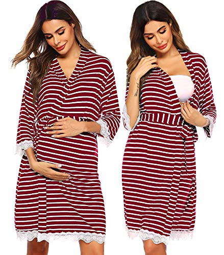 Ekouaer Delivery Robe Nursing Maternity Clothes Lace Breastfeeding Pajamas Hospital Bag Must Have Wine Red M