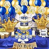 Jollyboom Prince 1er cumpleaños Decoraciones Royal Blue Primer cumpleaños Suministros con Globos de la Corona Una Trona Banner Cake Topper Azul Marino One Cake Topper