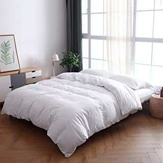 BOBforyou 3 Pieces Duvet Cover King,Stone Washed Yarn Dyed Microfiber Duvet Cover Set,Ultra Soft and Easy Care,Simple Style Bedding Set (White, Queen)
