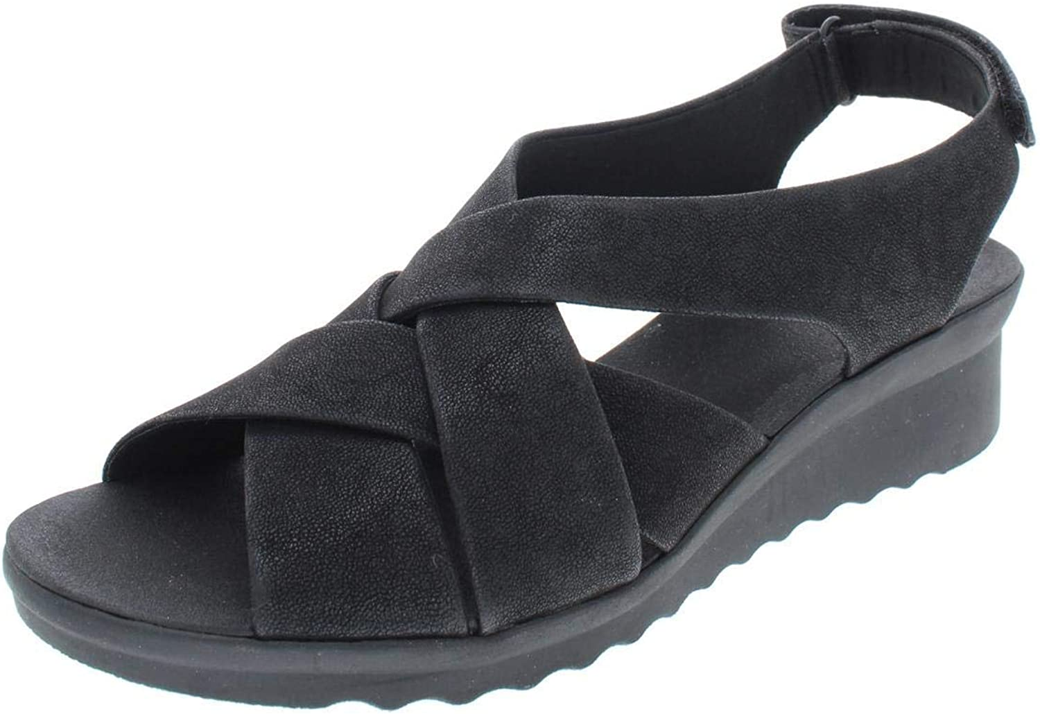 Clarks Womens Caddell JENA Faux Suede Criss-Cross Wedges