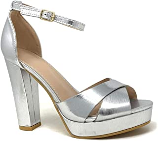 ba6bb6756da5 Angkorly - Chaussure Mode Escarpin Sandale soirée Glamour Plateforme Femme  Lanières croisées Rayures Traits métallique Talon
