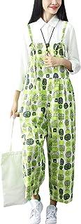 (のグレープフルーツ プラム)レディース ゆったりワイドパンツ 体型カバー 可愛い花柄 レディース オールインワン オーバーオール