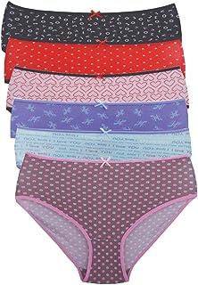 Carina Underwear Panties for Women- Pack of 6 Brief Pantie - Printed - Multi color