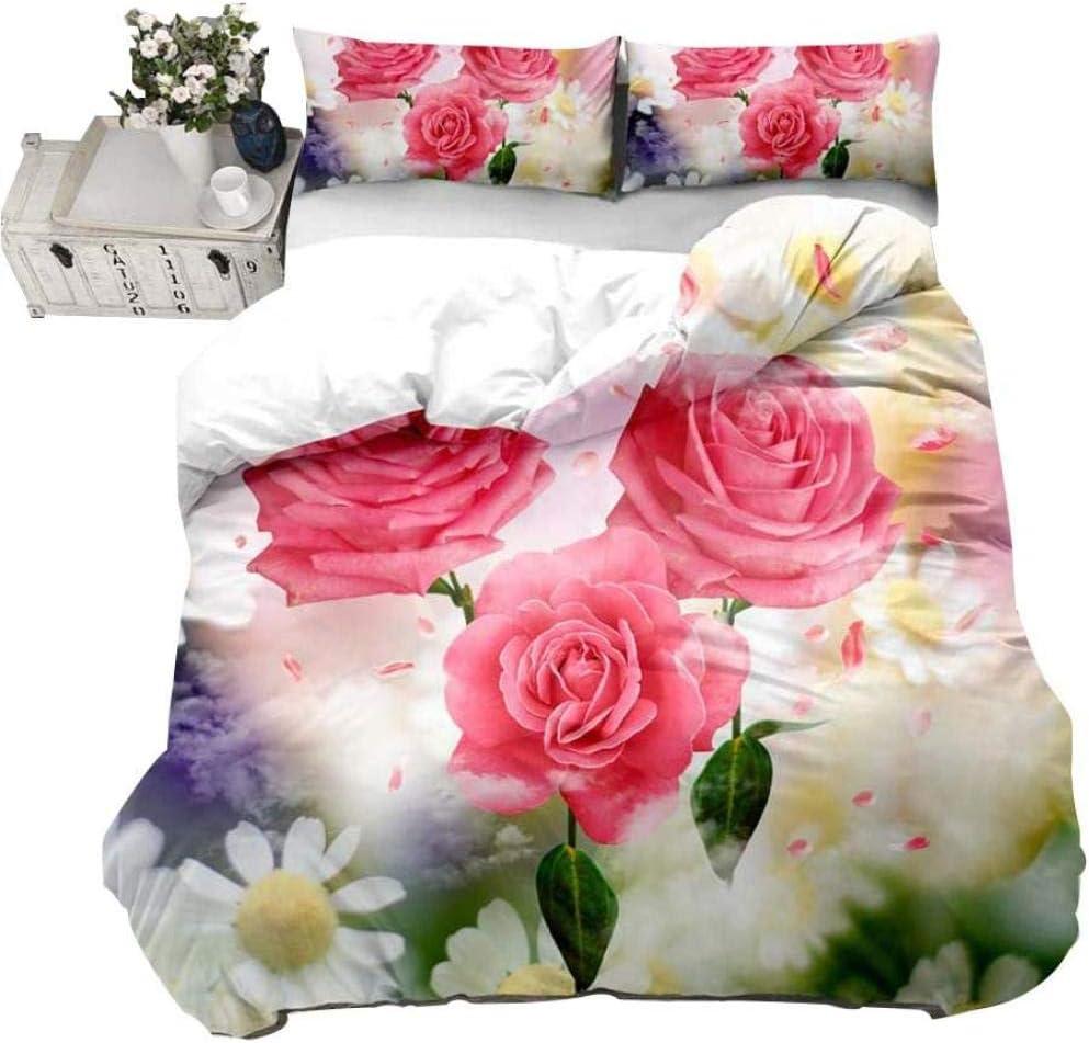 Brand new AWDDDER Pink Plant Flower OFFicial shop Rose Petal Cover Leaf Set Single Duvet