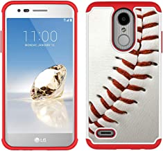 LG Aristo 2 Case, LG Tribute Dynasty/Fortune 2/Zone 4/Risio 3 Case - Baseball Sports Pattern Shockproof Hard PC and Inner Silicone Hybrid Dual Layer Armor Defender Case for LG K8 2018