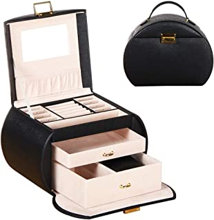 Lanbinxiang@ Multi-Layer PU Jewelry Box Watches Earrings Ring Necklace Bracelet Storage Cosmetic Case Girl Woman Gift Mirror Lock Portable Red Black Pink Blue (Color : Black)