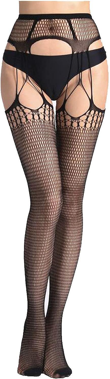 Womens High Waist Tights Fishnet Stockings Thigh Pantyhose Black Mesh Patterned Tights Fish Net Stockings Black Fishnets