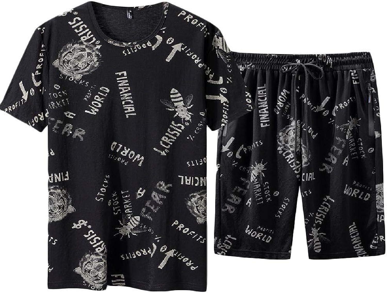 HEFASDM Men's Plus Size Relaxed-Fit Athletic Summer Short Sleeve Tops + Short Pants Tracksuit