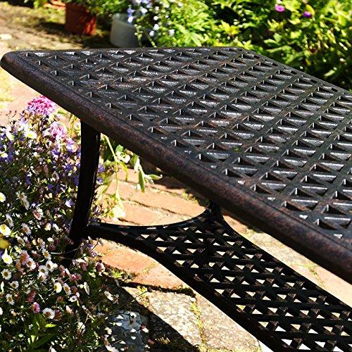 Lazy Susan – GRACE Gartenbank und CLAIRE Rechteckiger Garten Beistelltisch – Gartenmöbel Set aus Metall, Antik Bronze (Blaues Kissen) - 5