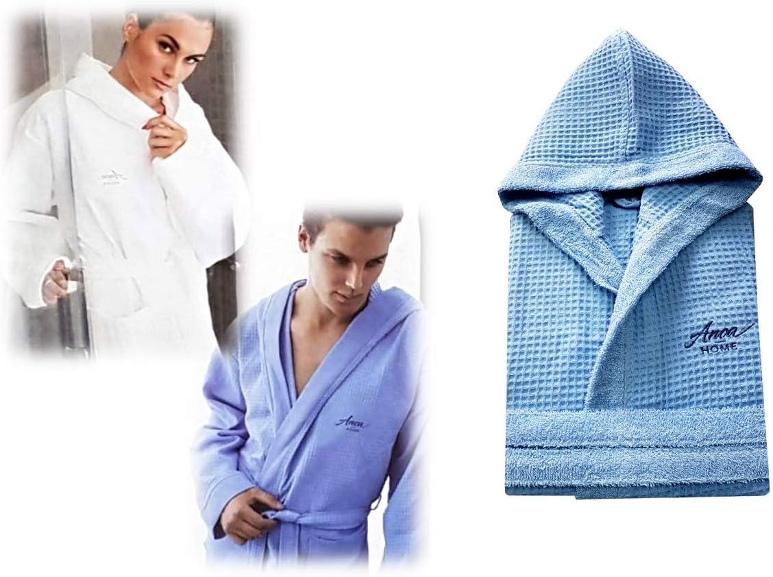 menitashop Accappatoio Accappatoi in Spugna Uomo Donna Piscina con Cappuccio 100/% Cotone Blu Fucsia Azzurro Fucsia, L
