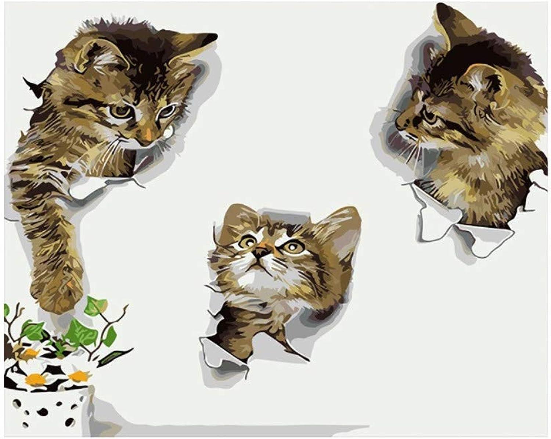 Yyboo DIY Malen Nach Zahlen Digital Leinwand Ölgemälde Geschenk Erwachsene Kinder Kits Home Decorators - Naughty Kitten (Holzrahmen) B07PDFWNTW   Berühmter Laden