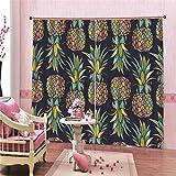 Vorhang Wohnzimmer Modern Ananas Vorhang Abdunkelung 2er-Set Muster Gardine für Kinderzimmer Schlafzimmer 117x137cm