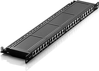deleyCON Panel de Conexión Cat 6a 0,5U Mini 24 Puertos para Escritorio de Sobremesa de 19 Pulgadas RJ45 Blindado TIA568A TIA568B - Negro