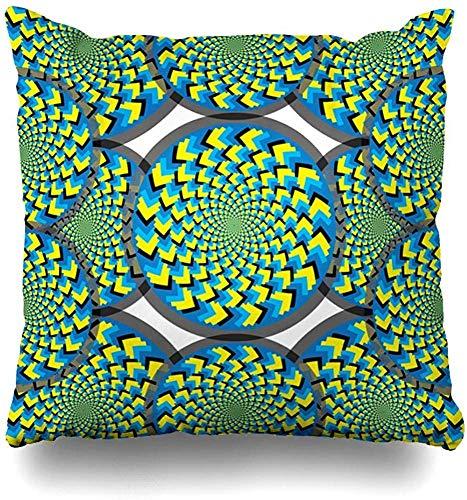 Pillowcase Jagged Blue Artistic Spiral Spin Wheels Abstract Clip Hypnotic Yellow Black Circles Curves Discs Square 45X45cm Decorative Pillowcase Zippered Home Decor Cushion Case Throw Pillow Cover
