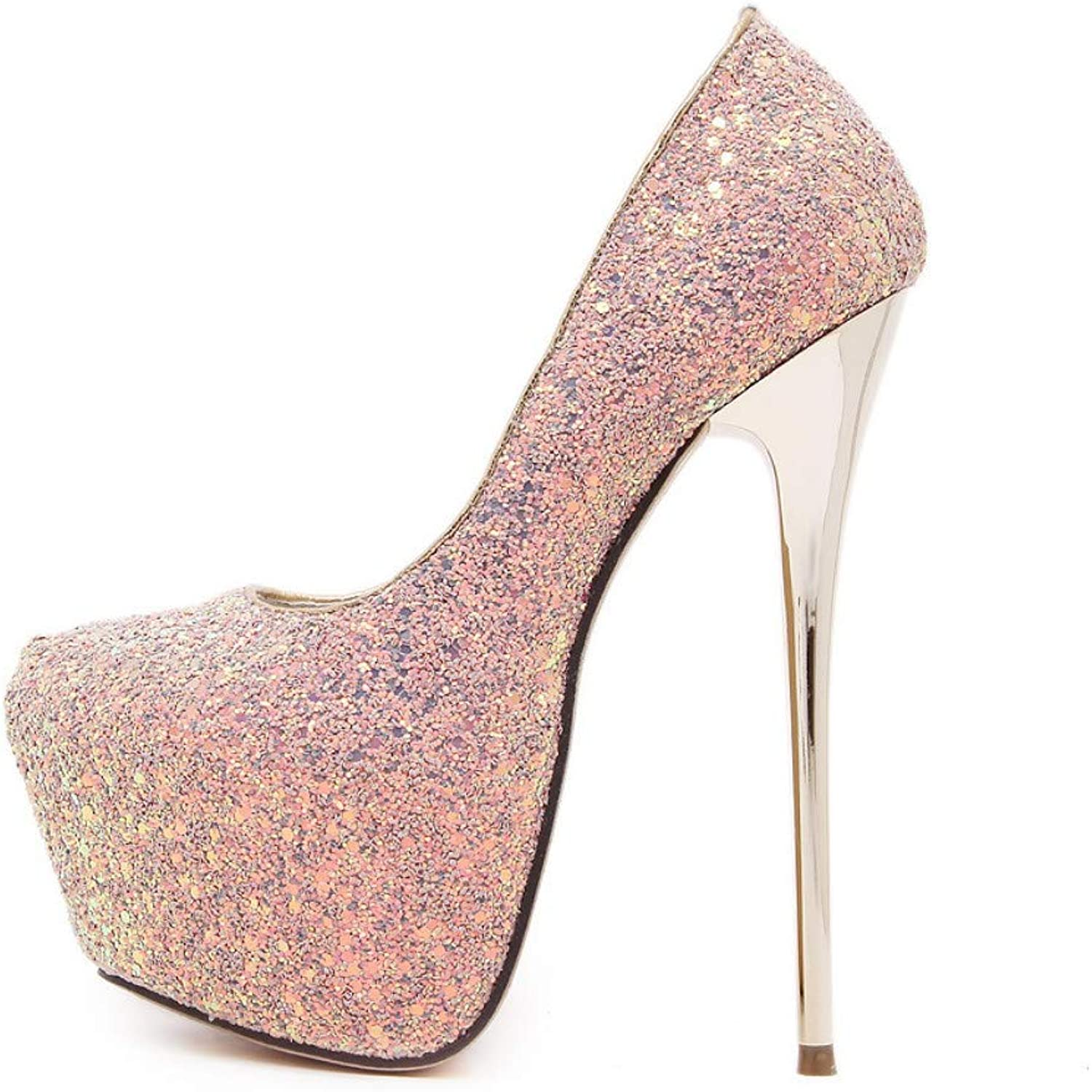 JQfashion Women's High-Heeled shoes Spring and Summer Single shoes Sequins Waterproof Table Fine-Heeled Sexy Night Club 16Cm