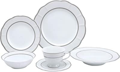 Lorren Home Trends Flower Shape Dinnerware Set, Silver