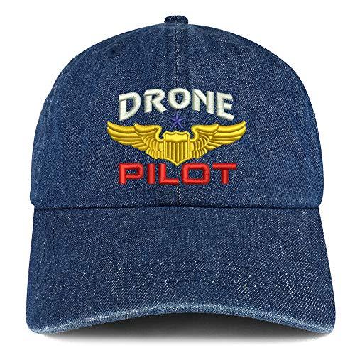 Trendy Apparel Shop Drone Pilot Aviation Wing Embroidered 100% Cotton Denim Cap Dad Hat - Dark Blue