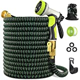 """8. Expandable Garden Hose 75 ft - GarHose Retractable Water Hose with 10 Function Spray Nozzle, 3/4"""" Solid Brass On-off Valve and Durable 5 Layer Latex Core, Easy Storage Kink-Proof Flexible Hose"""