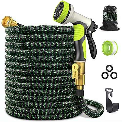 Expandable Garden Hose 100 ft - GarHose Retractable Water Hose with 10 Function Spray Nozzle, 3/4' Solid Brass On-off Valve and Durable 5 Layer Latex Core, Easy Storage Kink-Proof Flexible Hose
