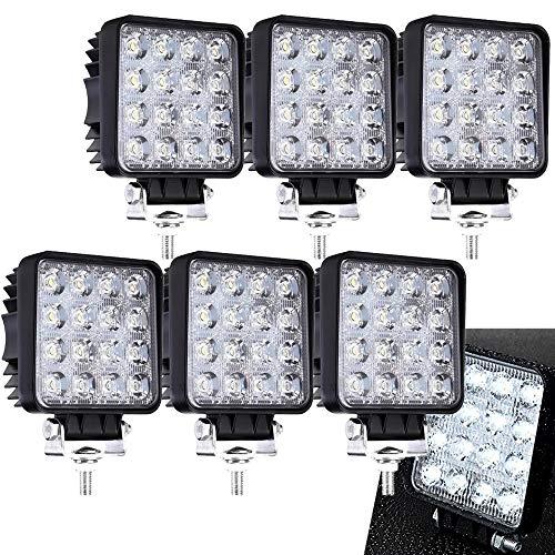 6 x 48 W Cuadrado Miracle - Reflector led luz de trabajo SUV, UTV, ATV, faro adicional Foco 12 V 24 V de marcha atrás