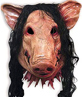 1PC Saw Pig Head Scary Masks Novelty Halloween Mask with Hair Halloween Mask Caveira Cosplay Costume Latex Festival Supplies