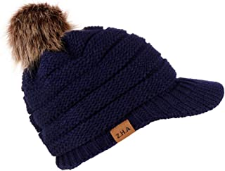 LEXUPA Adult Women Men Winter Crochet Hat Knit Hat Baseball Cap Hairball Warm Cap
