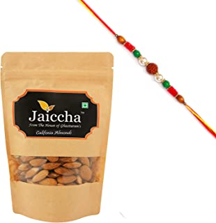 Jaiccha Ghasitaram Rakhi Gifts for Brothers Rakhi Dryfruits - American/ Califonia Almonds 200 GMS in Brown Paper Pouch wit...