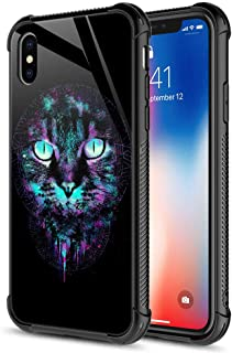 iPhone Xs MAX Case,Cool Cat Iris iPhone Xs MAX Cases for Men Boys,9H Tempered Glass Graphic Design Shockproof Anti-Scratch Tempered Glass Case for Apple iPhone Xs MAX