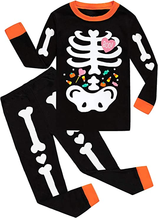 Toddler Boys Halloween Pajamas Glow in The Dark Skeleton Pjs Cotton 2 Piece Pajama Set Pumpkin Sleepwear for Kids